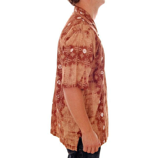 Vintage Mens Batik Print Shirt Pullover 1970s Med Browns - The Best Vintage Clothing  - 3