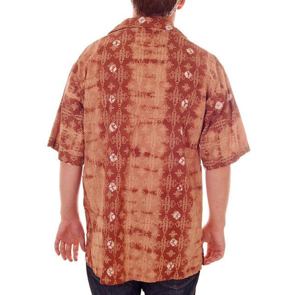 Vintage Mens Batik Print Shirt Pullover 1970s Med Browns - The Best Vintage Clothing  - 4