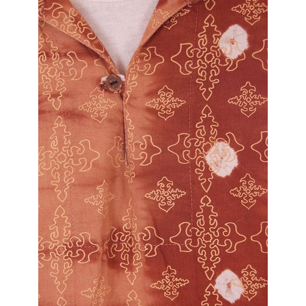 Vintage Mens Batik Print Shirt Pullover 1970s Med Browns - The Best Vintage Clothing  - 5