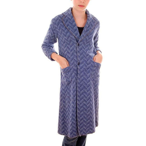 Vintage Boys Beacon Style Blanket Robe Blue 1920s Small