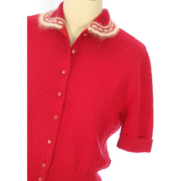 Vintage Sweater Suit Lipstick Red Womens 2PC  1950s 36-28-38 - The Best Vintage Clothing  - 4