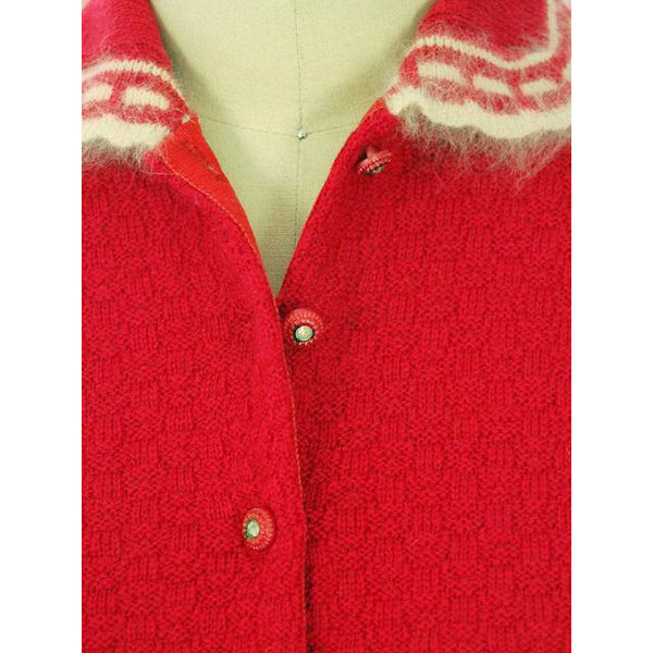 Vintage Sweater Suit Lipstick Red Womens 2PC  1950s 36-28-38 - The Best Vintage Clothing  - 5