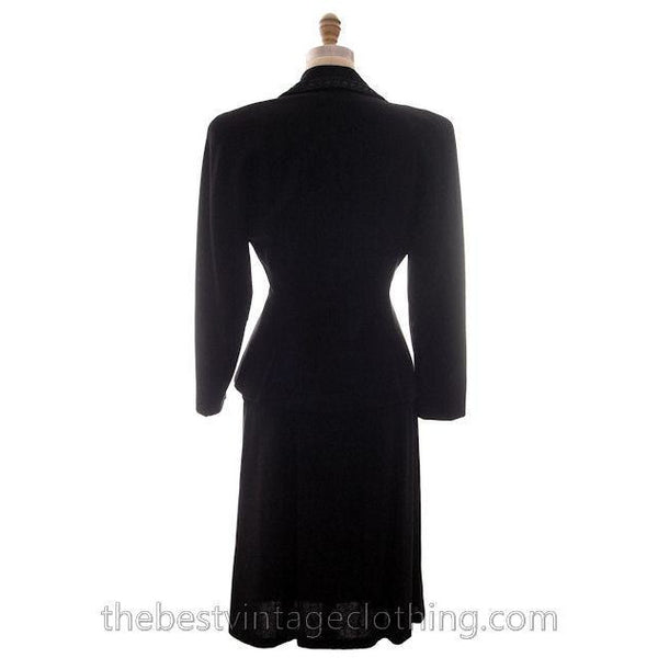 Vintage Suit Classic 1940s Ladies Black Crepe Swansdown Embellished Collar Small - The Best Vintage Clothing  - 4