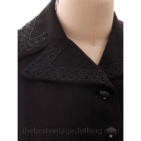 Vintage Suit Classic 1940s Ladies Black Crepe Swansdown Embellished Collar Small