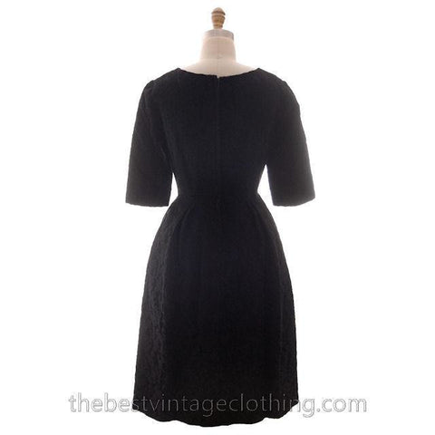 Vintage Black Brocade Cocktail Dress 1950s Medium Sz 40 Hourglass Shape Aure