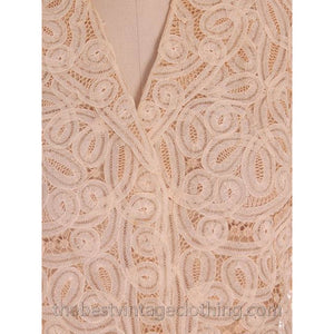 Amazing Vintage Blouse Cream Battenburg Tape Lace 1940s Med- Large - The Best Vintage Clothing  - 1