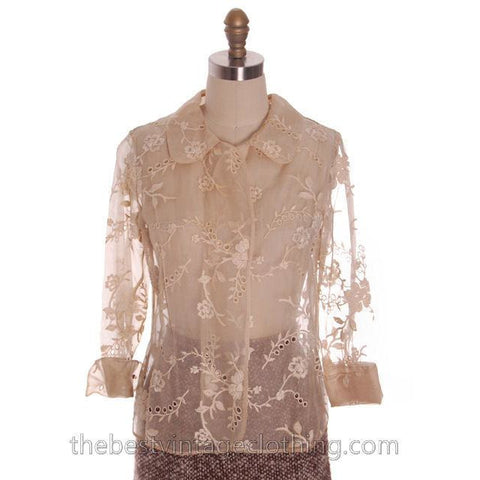 Gorgeous Vintage Over-Blouse Champagne Silk Organdy Embroidered 1940s  S-M Damaged