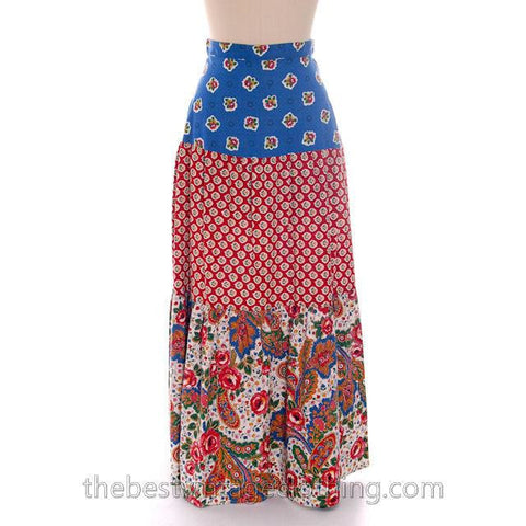 Lovely Vintage BoHo Skirt Maxi Long Mixed Prints Pandora 1970s Small - The Best Vintage Clothing  - 1