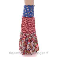 Lovely Vintage BoHo Skirt Maxi Long Mixed Prints Pandora 1970s Small - The Best Vintage Clothing  - 2