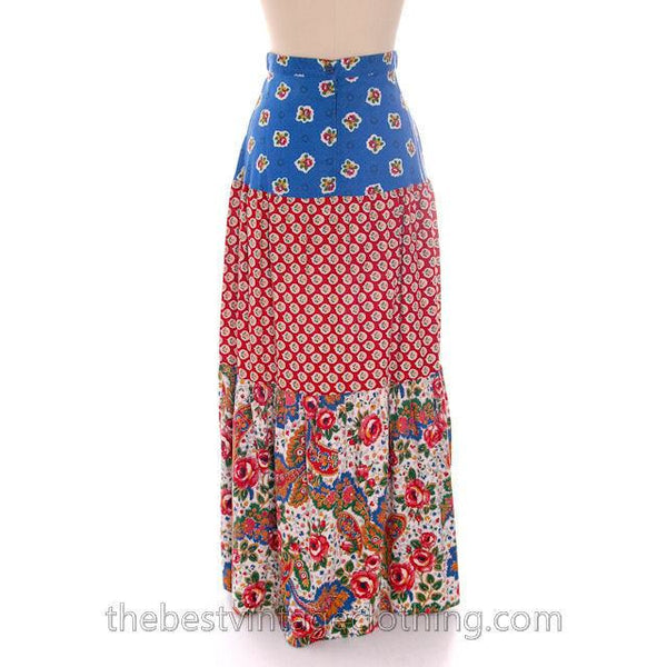 Lovely Vintage BoHo Skirt Maxi Long Mixed Prints Pandora 1970s Small - The Best Vintage Clothing  - 3