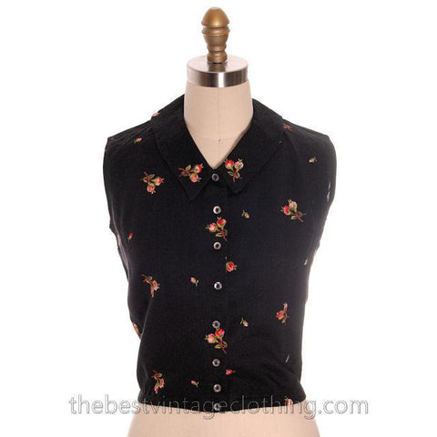 Beautiful Vintage Linen Sleeveless Blouse Black w/ Pink Roses Embroidery 1950s Small - The Best Vintage Clothing  - 1