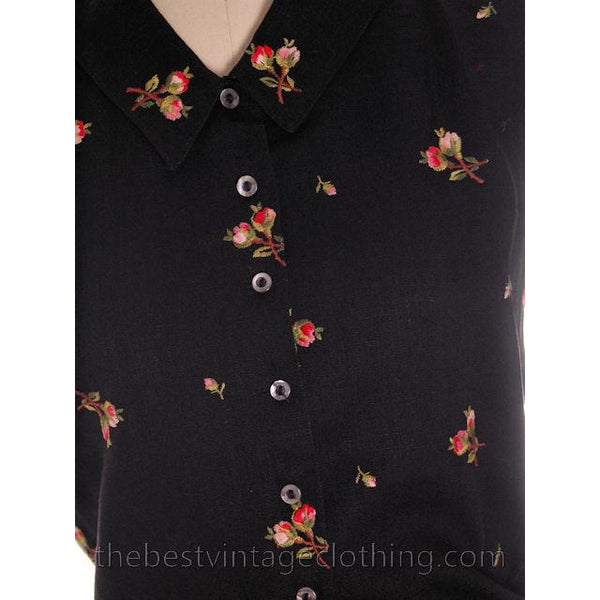 Beautiful Vintage Linen Sleeveless Blouse Black w/ Pink Roses Embroidery 1950s Small - The Best Vintage Clothing  - 3