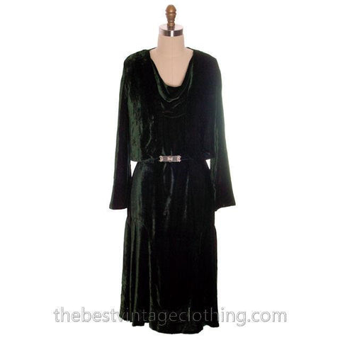 Vintage Antique 1920s Evergreen Silk Velvet Dress & Jacket Art Deco Beauty S-M