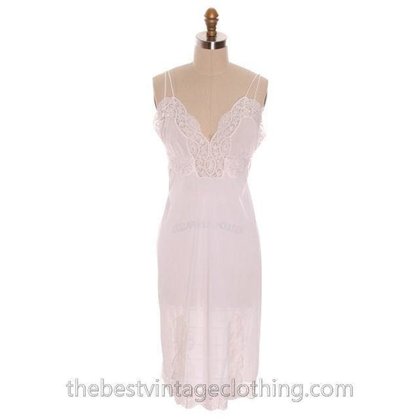 Gorgeous Vintage 1950s Lingerie Full Slip Munsingwear White Nylon Tricot Sz 36 Never Worn - The Best Vintage Clothing  - 1