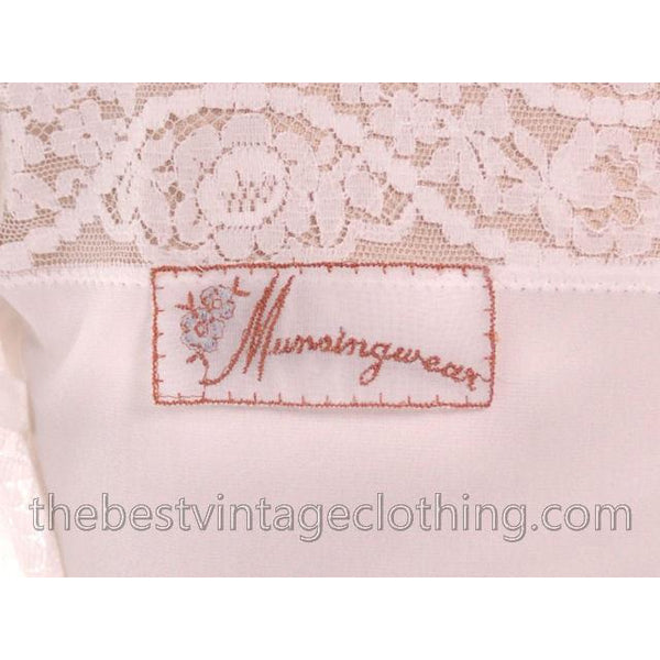 Gorgeous Vintage 1950s Lingerie Full Slip Munsingwear White Nylon Tricot Sz 36 Never Worn - The Best Vintage Clothing  - 5