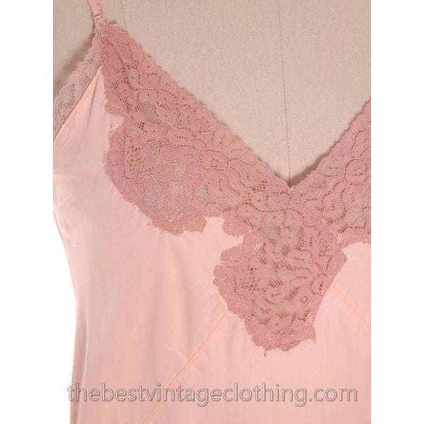 Vintage Peach Rayon Full Slip Lace Trimmed 1940s 34 Damaged - The Best Vintage Clothing  - 4