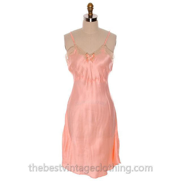 Lovely Vintage Lingerie Peach Rayon Satin Full Slip Bias Cut Never Worn 1940s 38 - The Best Vintage Clothing  - 1