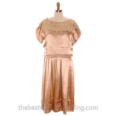 Vintage 1920s Dress Gold Silk Satin Fantastic Lace Collar Soutache Medium Downton Abbey S- M