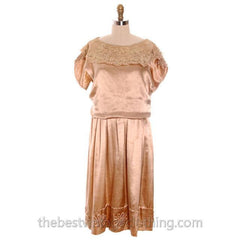 Vintage 1920s Dress Gold Silk Satin Fantastic Lace Collar Soutache Medium Downton Abbey S- M - The Best Vintage Clothing  - 1