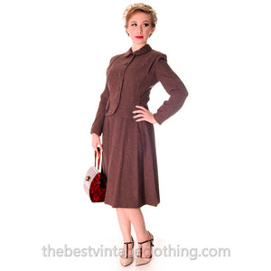 VTG Brown Wool Flecked Suit Womens 1950s Urban Suburban Sweet Fit 36-24-44 S - The Best Vintage Clothing  - 1