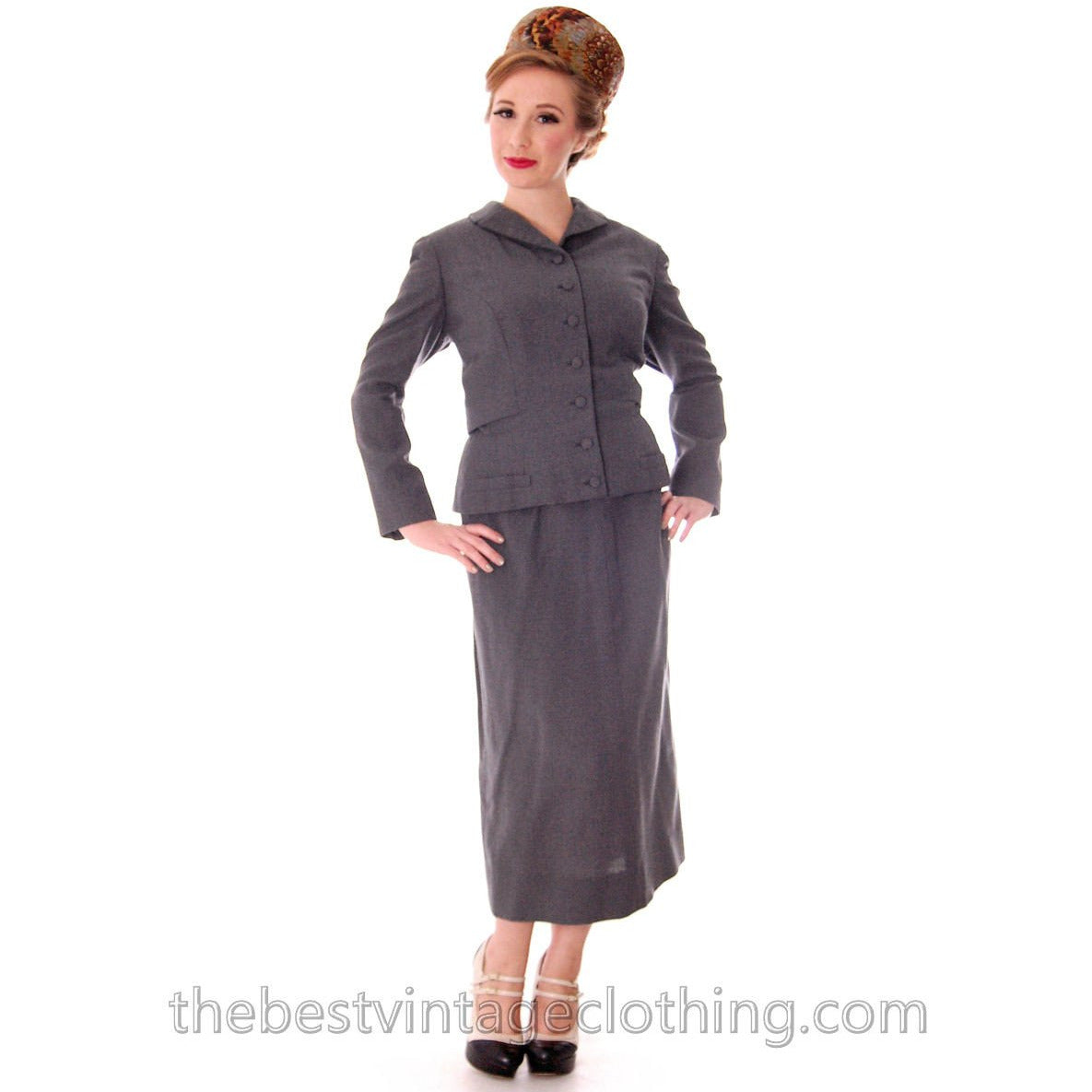 Jablow Suit Vintage 1950s Gray Womens Day Suit Damaged Costume 40-27-41 - The Best Vintage Clothing  - 1