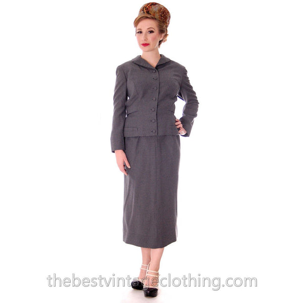 Jablow Suit Vintage 1950s Gray Womens Day Suit Damaged Costume 40-27-41 - The Best Vintage Clothing  - 2