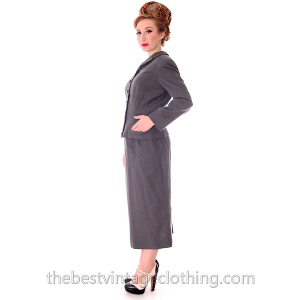 Jablow Suit Vintage 1950s Gray Womens Day Suit Damaged Costume 40-27-41 - The Best Vintage Clothing  - 3