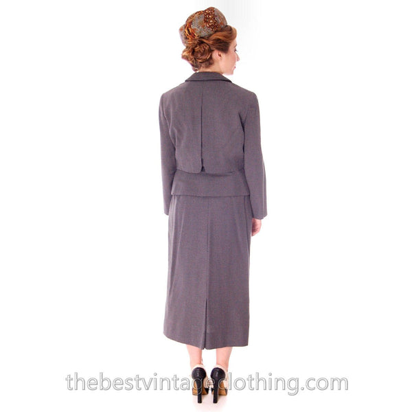 Jablow Suit Vintage 1950s Gray Womens Day Suit Damaged Costume 40-27-41 - The Best Vintage Clothing  - 4