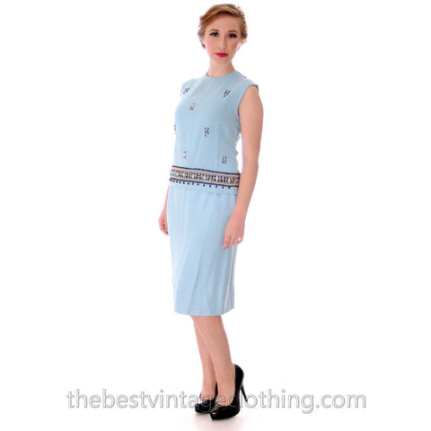 Gorgeous 1960s Vintage Blue Linen 2PC Dress Suit Embroidered Beaded Details 33-25-36