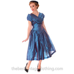 Vintage Party Dress Changeable Iridescent Blue Taffeta Full Skirt Ultra 1950s 32-24-Free - The Best Vintage Clothing  - 2