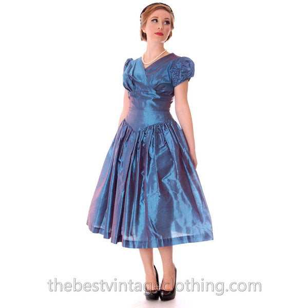 Vintage Party Dress Changeable Iridescent Blue Taffeta Full Skirt Ultra 1950s 32-24-Free - The Best Vintage Clothing  - 1