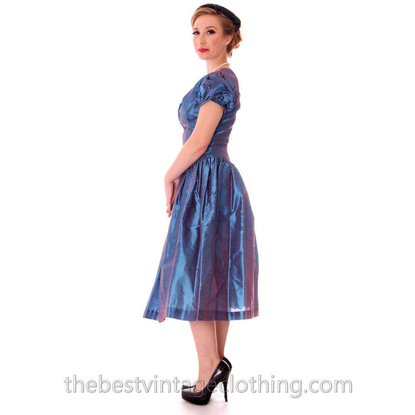 Vintage Party Dress Changeable Iridescent Blue Taffeta Full Skirt Ultra 1950s 32-24-Free - The Best Vintage Clothing  - 3