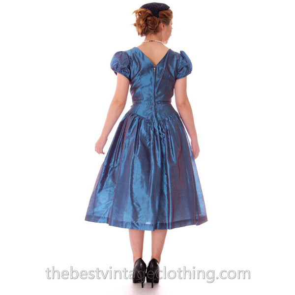 Vintage Party Dress Changeable Iridescent Blue Taffeta Full Skirt Ultra 1950s 32-24-Free - The Best Vintage Clothing  - 4