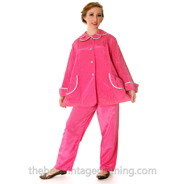 Vintage I Love Lucy Pajamas Womens Fuchsia Lyn Delle 1950s 46-28-40  Medium - The Best Vintage Clothing  - 4
