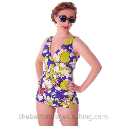 Vintage Swim Suit 1960s Bathing Suit 1 PC Psychadelic Print S Floral California