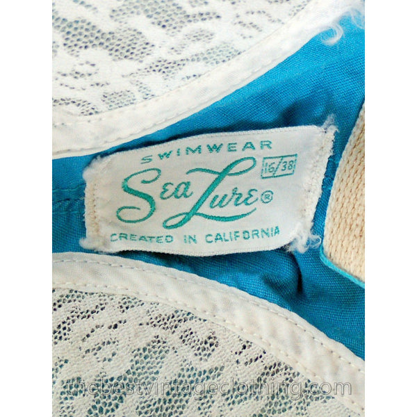 Vintage 1950s Knit Swimsuit Aqua Blue & White Floral Sea Lure 38B - The Best Vintage Clothing  - 6
