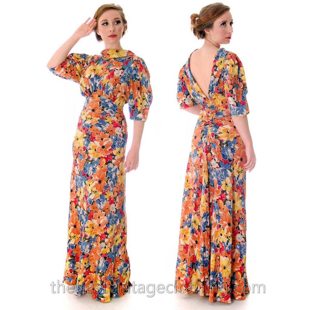 Vintage 1930s Bias Cut Floral Silk Gown Backless Maxi Dress 36-27-36 - The Best Vintage Clothing  - 1