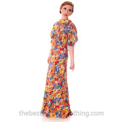 Vintage 1930s Bias Cut Floral Silk Gown Backless Maxi Dress 36-27-36 - The Best Vintage Clothing  - 3