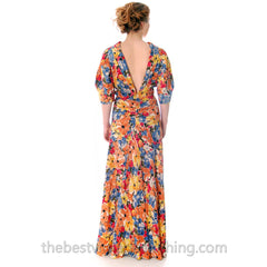 Vintage 1930s Bias Cut Floral Silk Gown Backless Maxi Dress 36-27-36 - The Best Vintage Clothing  - 5