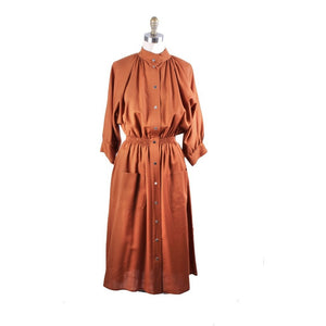 Vintage 1970s Vuokko Designer Cinnamon Wool Voile Shirt Dress Coat M