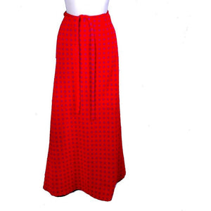 Vintage Vuokko Wool Skirt Red Blue Circles 1970s Wrap Sz 34/S/M