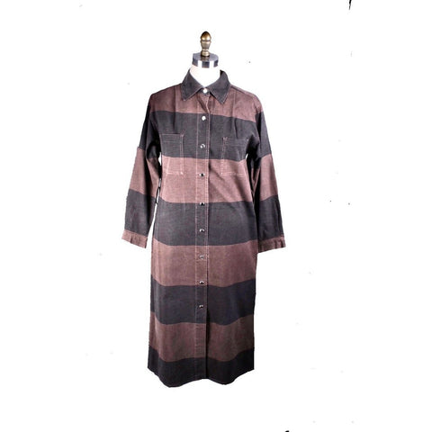 Vintage Vuokko Column Dress Cotton Black Brown Stripes Late 1970s  XS/S