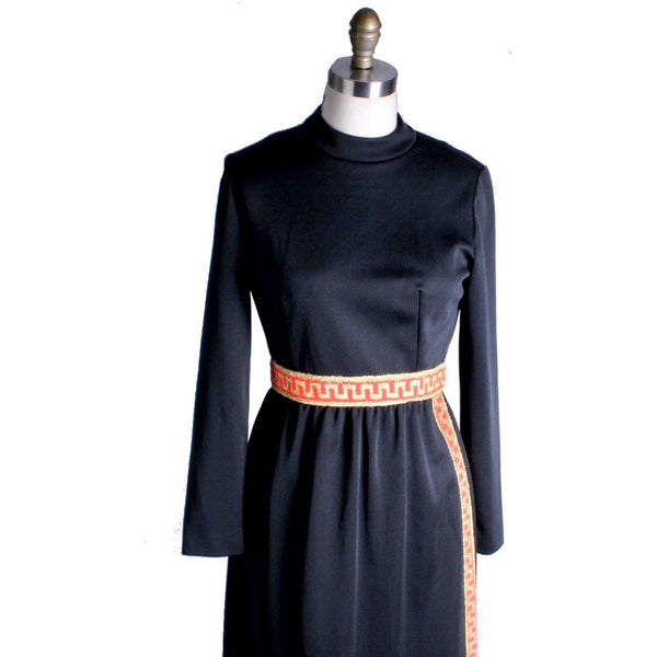 Vintage Leslie Fay Black Nylon Grecian Style Lounge Dress 1960S  36-26-42 S/M