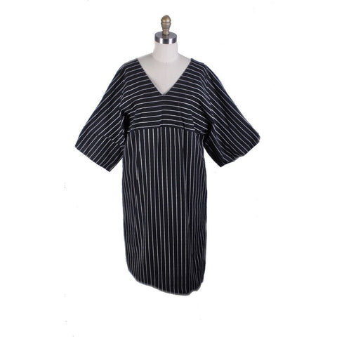 Vintage Vuokko 1970s Tent Dress Iconic Black & White Stripes Womens M Cotton