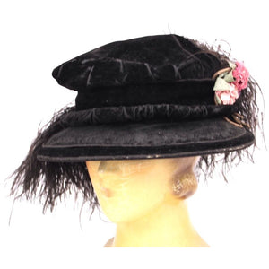 ANTIQUE 1910 Black Velvet & Feather Lady HAT Sibley Lindsay & Curr, Paris S/M
