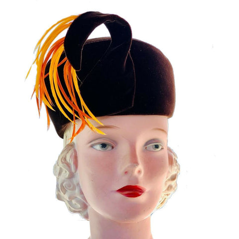 JACK MCCONNELL Boutique Pillbox Hat VTG MINT Brown Velvet Orange Yellow Feathers