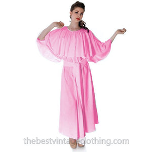 Fab Vintage Vuokko Designer Angel Sleeve Cape Gown Pink Cotton Tent Dress S