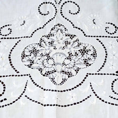 Antique White Linen Cutwork Embroidered  Swiss Appenzell Tablecloth Esso Oil Provenance - The Best Vintage Clothing  - 7