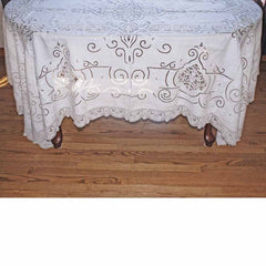 Antique White Linen Cutwork Embroidered  Swiss Appenzell Tablecloth Esso Oil Provenance - The Best Vintage Clothing  - 8