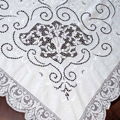 Antique White Linen Cutwork Embroidered  Swiss Appenzell Tablecloth Esso Oil Provenance - The Best Vintage Clothing  - 2